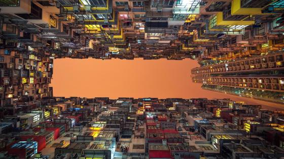 Crowded buildings - Low angle photography wallpaper