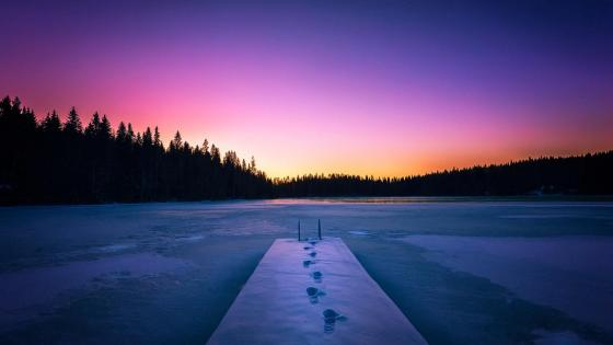 Colorful winter sunset wallpaper