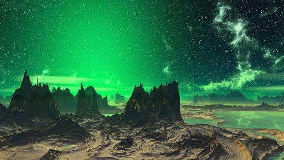 Starry green sky - Futuristic space art wallpaper