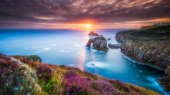 Cornish coastal sunset scenery at Lands End wallpaper