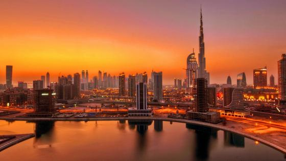 UAE Dubai skyscrapers in sunset wallpaper