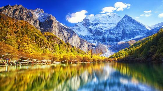 Pearl Lake and Xiannairi mountain at Yading Nature Reserve wallpaper