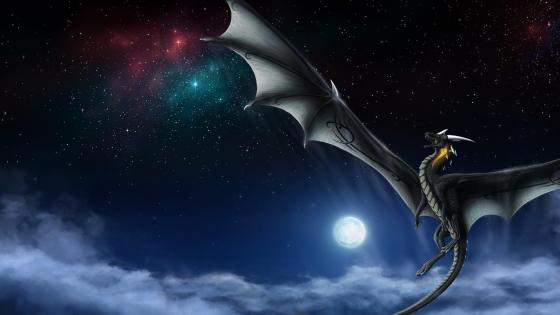 Dragon on the night sky wallpaper