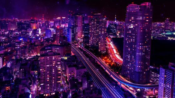 Shiodome skyline at night Minato, Tokyo, Japan wallpaper