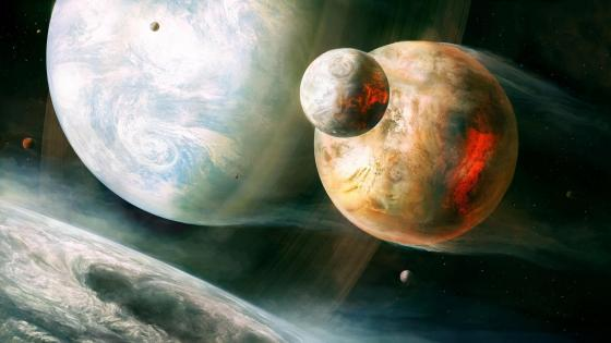 Flying planets - Space art wallpaper