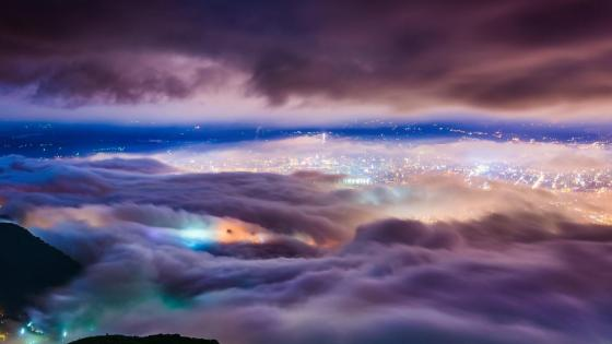 Taipei under fog - Aerial photography wallpaper