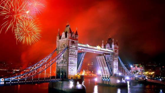 London Tower Bridge  Fireworks wallpaper