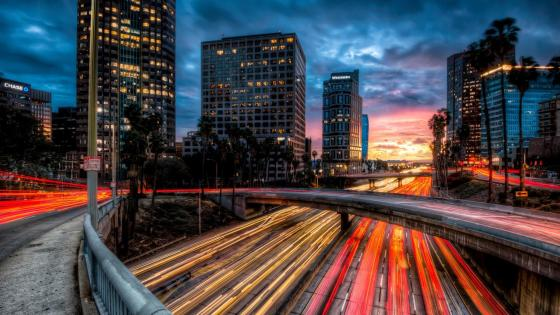 Los Angeles downtown at dusk wallpaper