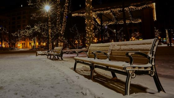 Snowy bench at Christmas season wallpaper