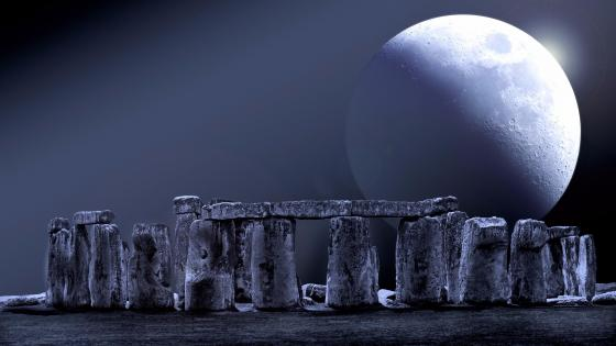 Stonehenge with an enormous full moon wallpaper