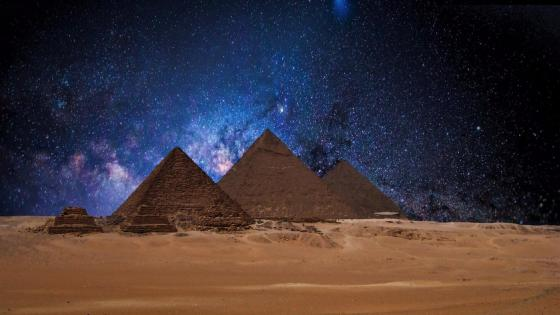 Egyptian Pyramids at night wallpaper