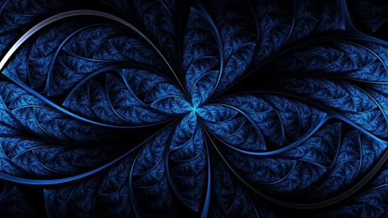 Navy blue fractal art wallpaper