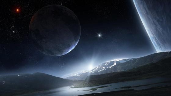 Alien planet surface landscape wallpaper