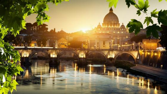St. Peters Basilica and St. Angelo Bridge (Vatican City) wallpaper