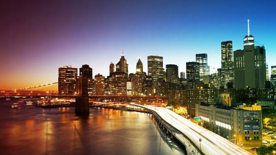 New York City skyline at dusk wallpaper