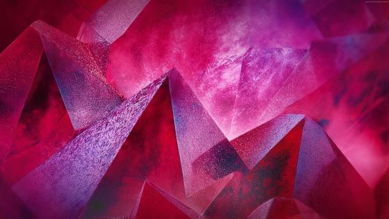 Red crystal abstract art wallpaper