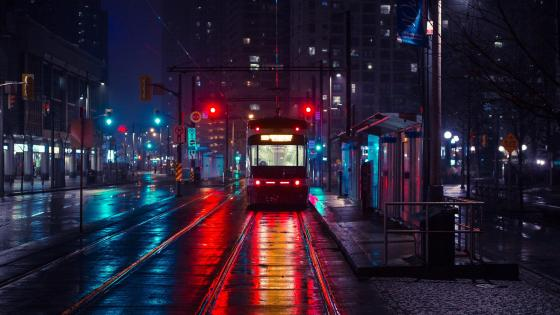 Tram in the night city wallpaper