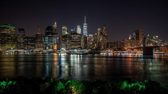 Manhattan skyline at night wallpaper