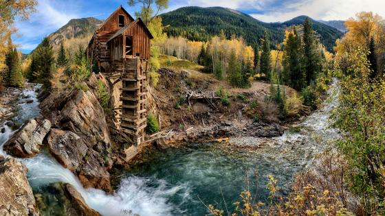 Crystal Mill on Crystal River wallpaper