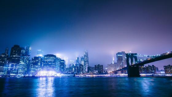 New York City view at night wallpaper