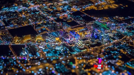 Las Vegas aerial view at night wallpaper