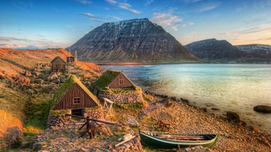 Icelandic turf houses - Ósvör Museum (Iceland) wallpaper
