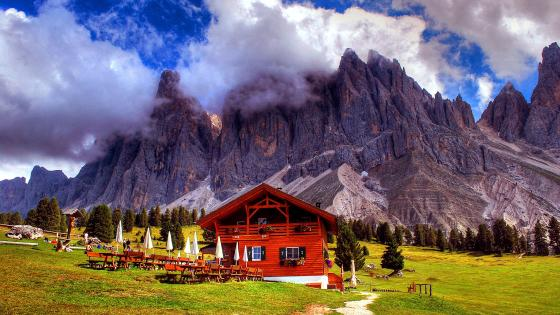 Restaurant chalet in the Italian Dolomites wallpaper
