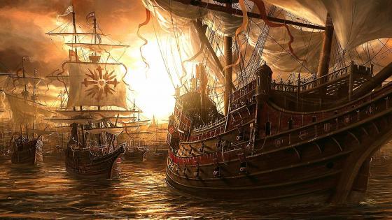 Ancient sailing ships wallpaper
