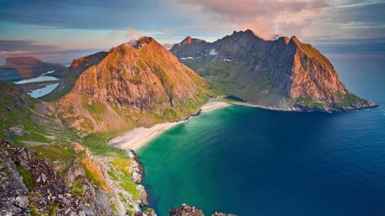 Kvalvika Beach from Mount Ryten, Norway wallpaper