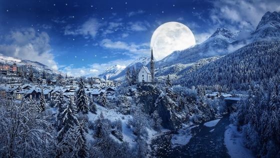 Winter Supermoon - Fantasy art wallpaper