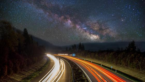 Road and galaxy - Long Exposure Photography wallpaper