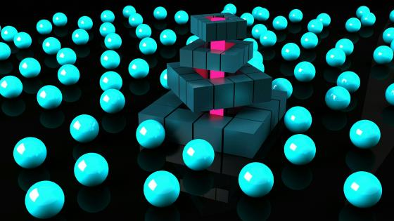 3D Turquoise balls wallpaper