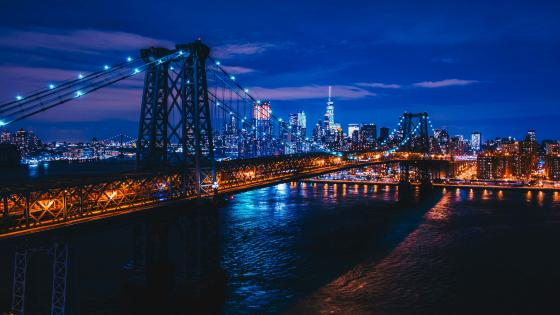 Williamsburg Bridge at night wallpaper