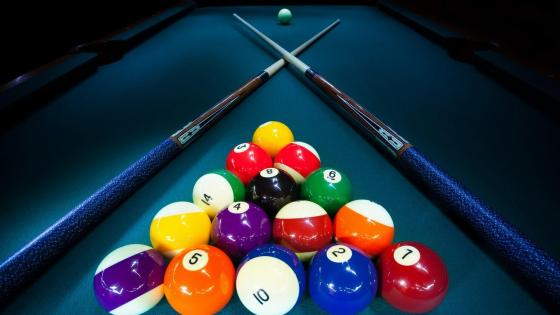 Pool Cues and balls wallpaper