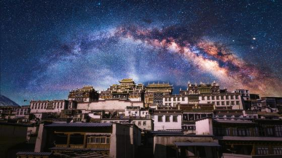 Songzanlin Monastery under the Milky Way (Shangri La, China) wallpaper