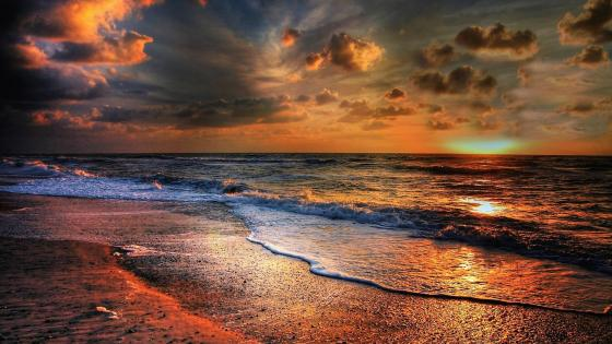 Seaside sunset wallpaper
