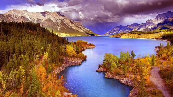 Abraham Lake in Canada wallpaper