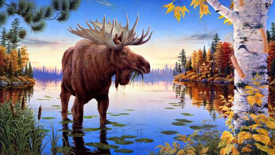 Elk Painting Art wallpaper