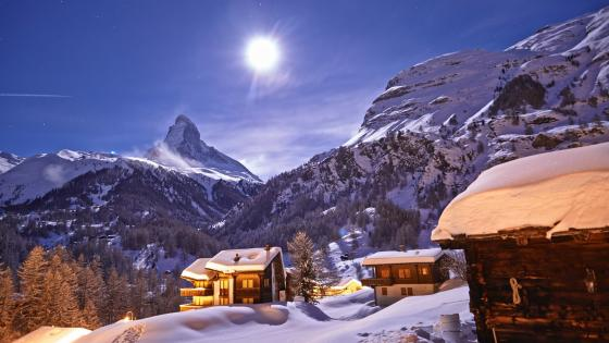 Matterhorn in the moonlight wallpaper