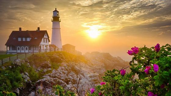 Portland Head Light at sunset wallpaper