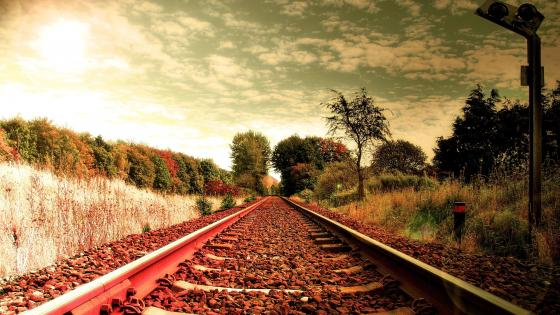 Countryside railroad wallpaper