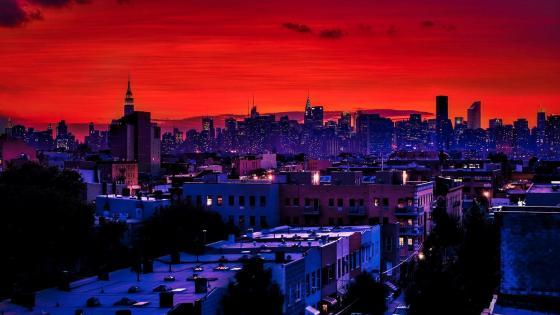 New York skyline in the sunset wallpaper