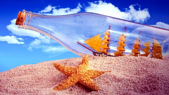Starfish and Bottle wallpaper