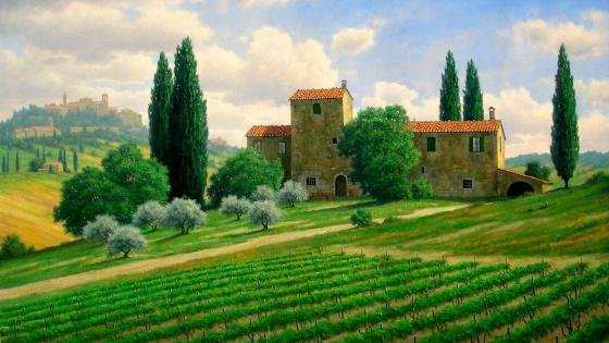 Tuscany - Painting art wallpaper