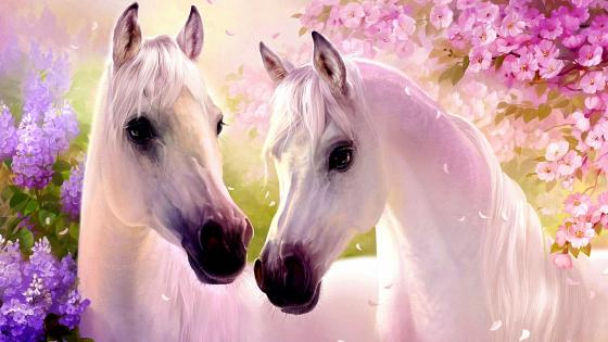 White horse painting wallpaper