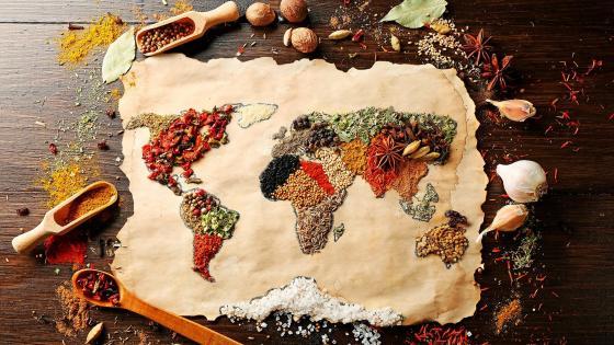 World map condiments wallpaper