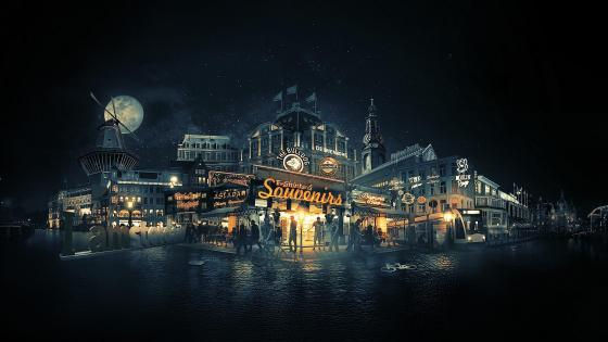 Amsterdam nightscape wallpaper