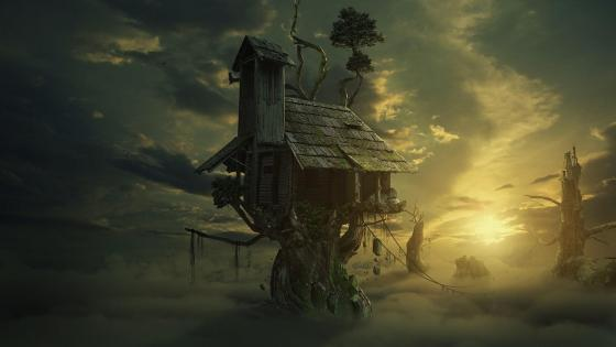 House on a tree - Fantasy art wallpaper