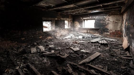 Room destroyed by fire wallpaper