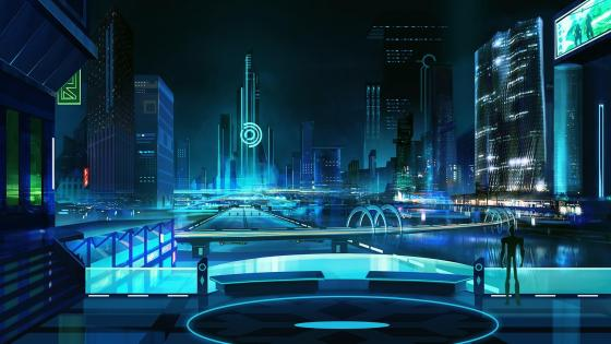 Cyberpunk metropolis wallpaper